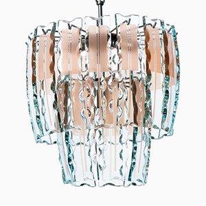 Lámpara colgante con cuatro lámparas de acero y vidrio coloreado, años 60