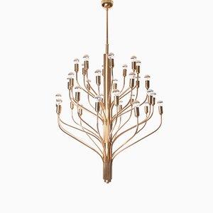 Lámpara de araña de latón con 32 luces, años 60