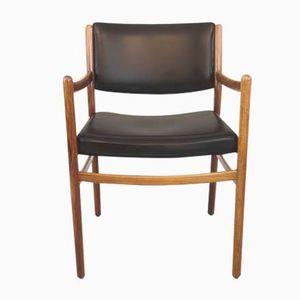 Mid-Century Stuhl aus Palisander und Schwarzem Kunstleder