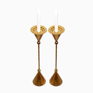 Scandinavian Brass Floor Candle Stands, 1960s, Set of 2