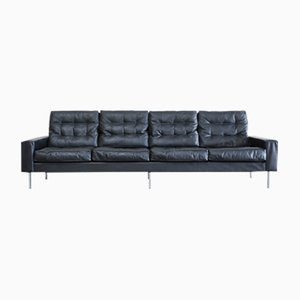 Vintage Black Leather 4-Seater Sofa from De Sede, 1967
