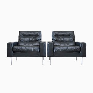 Vintage Black Leather Armchairs from de Sede, 1967, Set of 2
