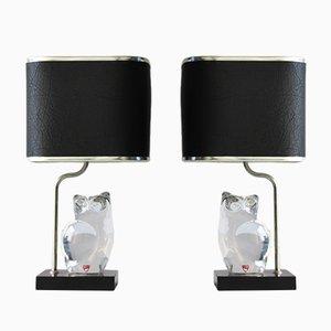 Lámparas con figuras de cristal de Olle Alberius para Orrefors, años 70. Juego de 2