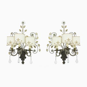 French Wall Sconces from Maison Bagues, 1940s, Set of 2