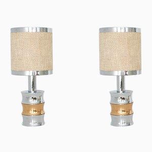 Lámparas de mesa vintage de cromo de Reggiani. Juego de 2