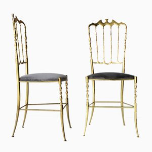 Vintage Brass Italian Chiavari Chairs, Set of 2