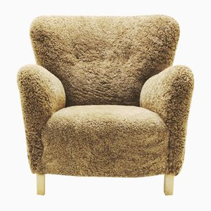 Danish Light Brown Lambskin Easy Chair, 1940s