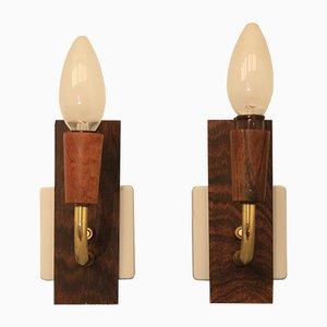 Lámparas de pared Mid-Century de palisandro. Juego de 2