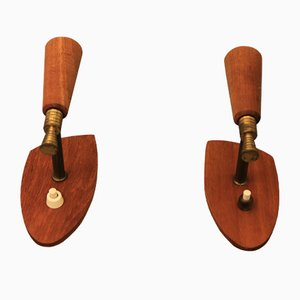 Mid-Century Danish Teak Wall Lamps, Set of 2