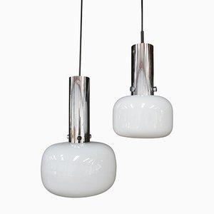 Lámparas colgantes alemanas de vidrio opalino de Glashütte Limburg, años 70. Juego de 2
