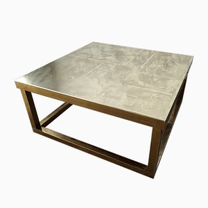 Square Belgian Brutalist Etched Brass Coffee Table by Willy Daro, 1980s