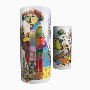 Vases Vintage Commedia Dell'Arte par Björn Wiinblad pour Rosenthal, Set de 2