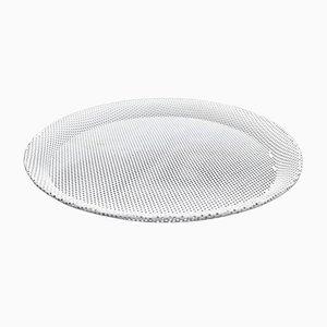 Plato de metal esmaltado blanco de Mathieu Matégot para Artimeta, años 50