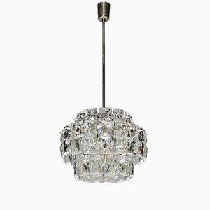 Lámpara de araña vintage de níquel plateado con cristales rectangulares de Kinkeldey
