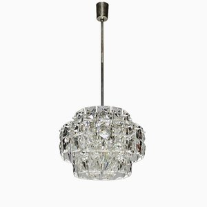 Vintage Nickel-Plated Chandelier with Rectangular Crystals from Kinkeldey