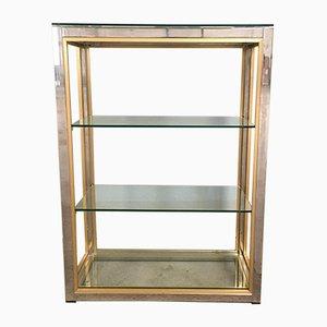 Italian Chrome, Glass, and Brass Shelf by Romeo Rega, 1970s