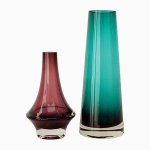 Vintage Glasvasen in Rosa und Grün von Riihimäen, 2er Set