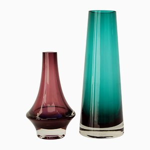 Vintage Pink and Green Glass Vases from Riihimäen, Set of 2