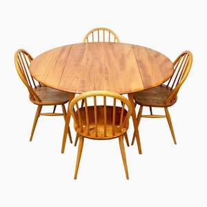 Mid-Century Elm Dining Table and Chairs from Ercol