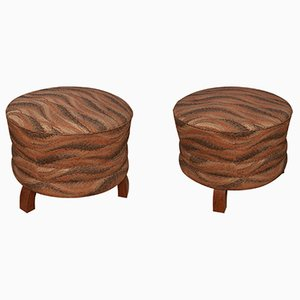 Art Deco Club Pouffes, 1930s, Set of 2