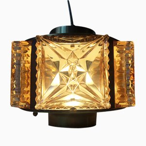 Mid-Century Danish Glass, Rosewood, and Brass Pendant Lamp from Vitrika, 1960s