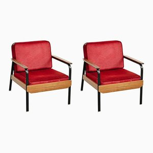 Fauteuils Vintage Rouges, France, Set de 2