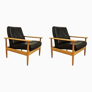 French Easy Chairs, 1950s, Set of 2