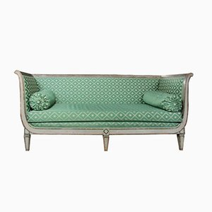 Französisches Antikes Empire Sofa mit Grünem Seiden Bezug