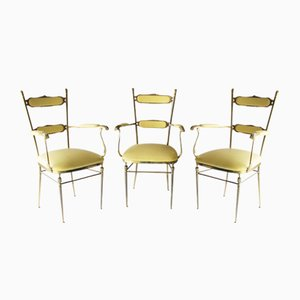 Vintage French Brass Chairs, Set of 3