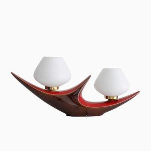 Lámpara de mesa doble francesa vintage de cerámica de Verceram