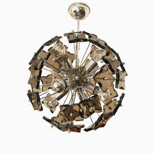 Lámpara de araña Sputnik italiana vintage de cristal ahumado de Fontana Arte