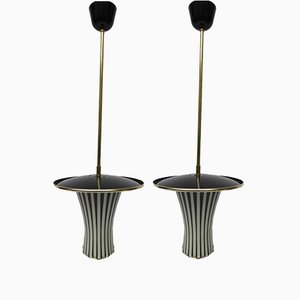 Black and White Italian Pendant Lamps, 1950s, Set of 2