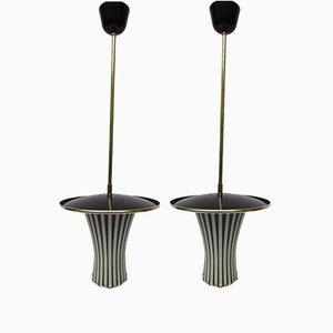 Lampes à Suspension Blanches et Noires, Italie, 1950s, Set de 2