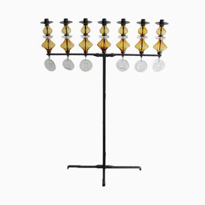 Großer Schwedischer Kerzenhalter mit Sieben Armen von Erik Hoglund für Kosta Boda, 1965