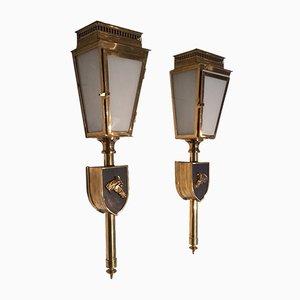 Bronze Wandlampen, 1950er, 2er Set