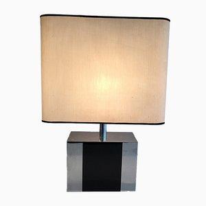 Lámpara de madera negra y cromo, años 70