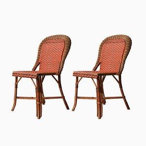 Französische Geflochtene Stühle, 1960er, 2er Set
