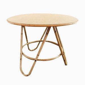 Table Basse Ronde Vintage en Rotin