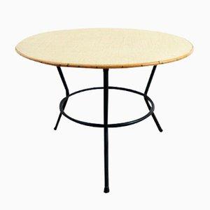 Table Basse Ronde Vintage en Rotin avec Socle en Métal Noir