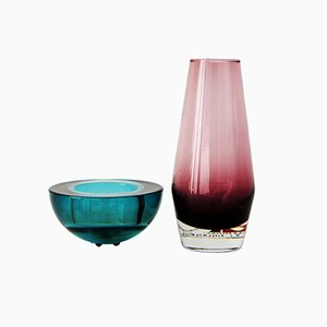 Vasi vintage in vetro verde e rosa di Riihimäen, set di 2