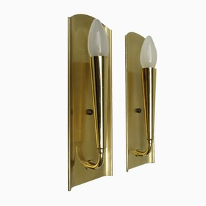 Polished & Matte Brushed Brass Wall Lights, 1950s, Set of 2