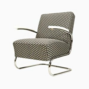 Vintage Cantilever Armchair in 3D Bauhaus Fabric from Mücke Melder