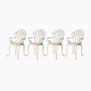 Chaises en Fer Laqué Blanches, 1950s, Set de 4