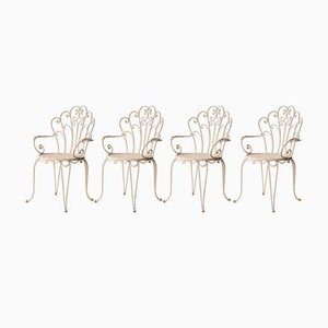 White Lacquered Iron Chairs, 1950s, Set of 4