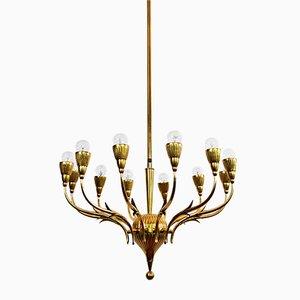 Lámpara de araña italiana vintage de latón de Lumi Milano