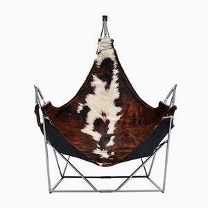 French Sculptural Lounge Chair with Cowskin Seat, 1960s
