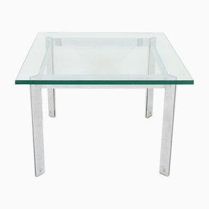 Mesa de centro vintage de vidrio y cromo