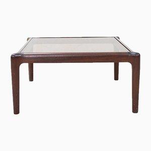 Tavolino da caffè basso vintage in mogano e vetro fumé