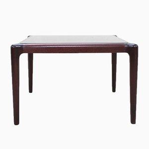 Table Basse Vintage en Acajou & Verre Fumé