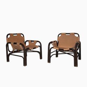 Sessel aus Bambus & Leder, 1960er, 2er Set